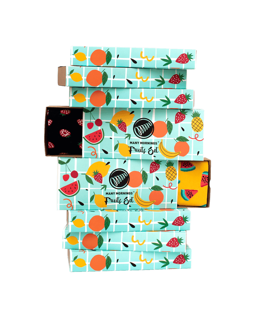 zestaw skarpetek w owoce