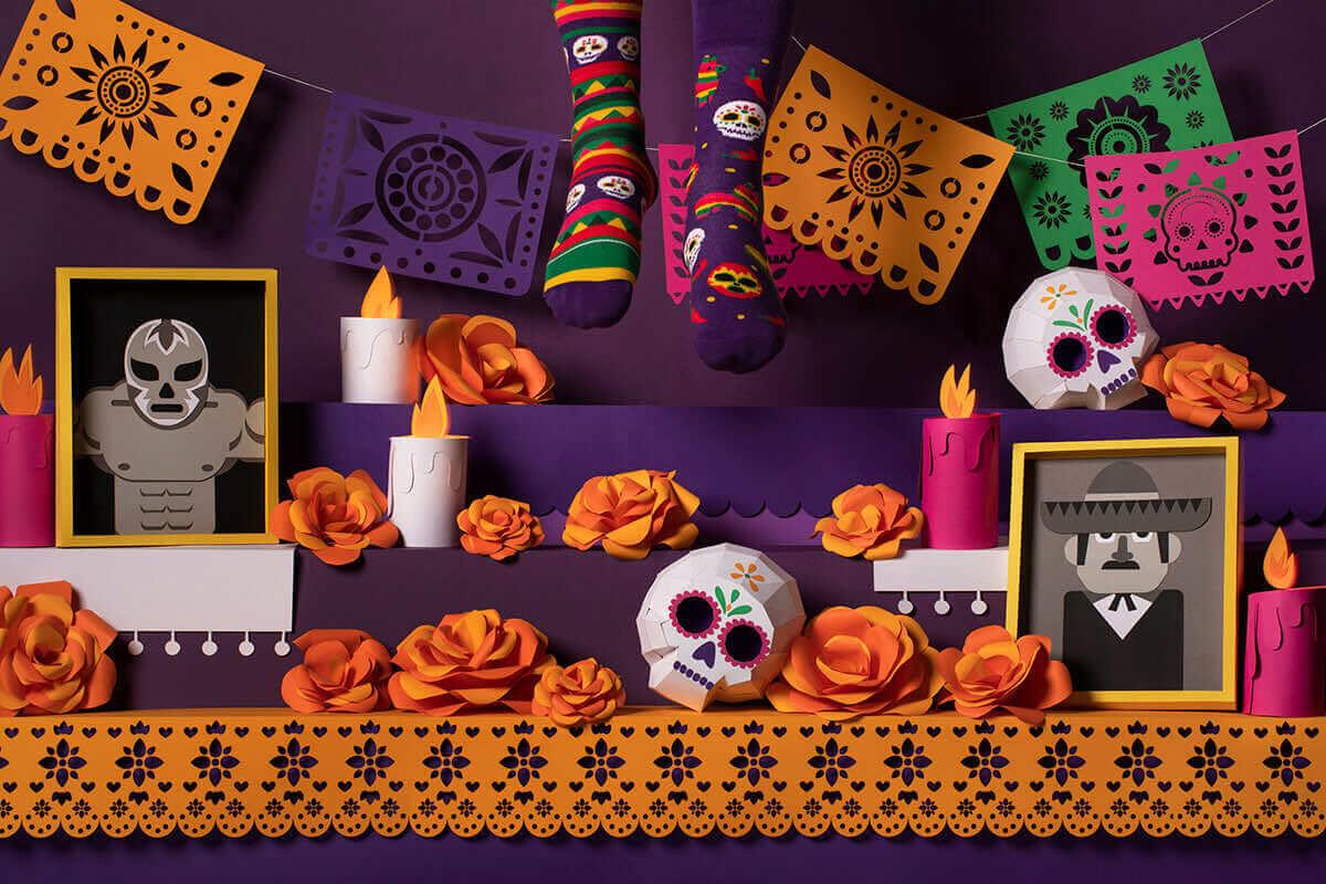 FIESTA MEXICANA - Skarpetki karnawałowe w czaszki