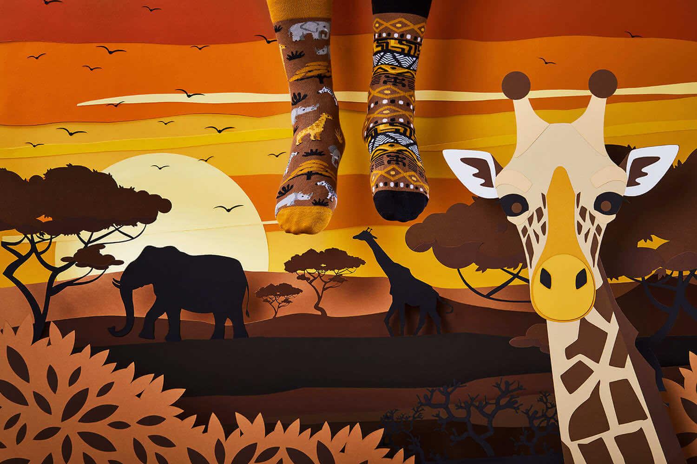 SAFARI TRIP - Chaussettes motif éléphants et girafes