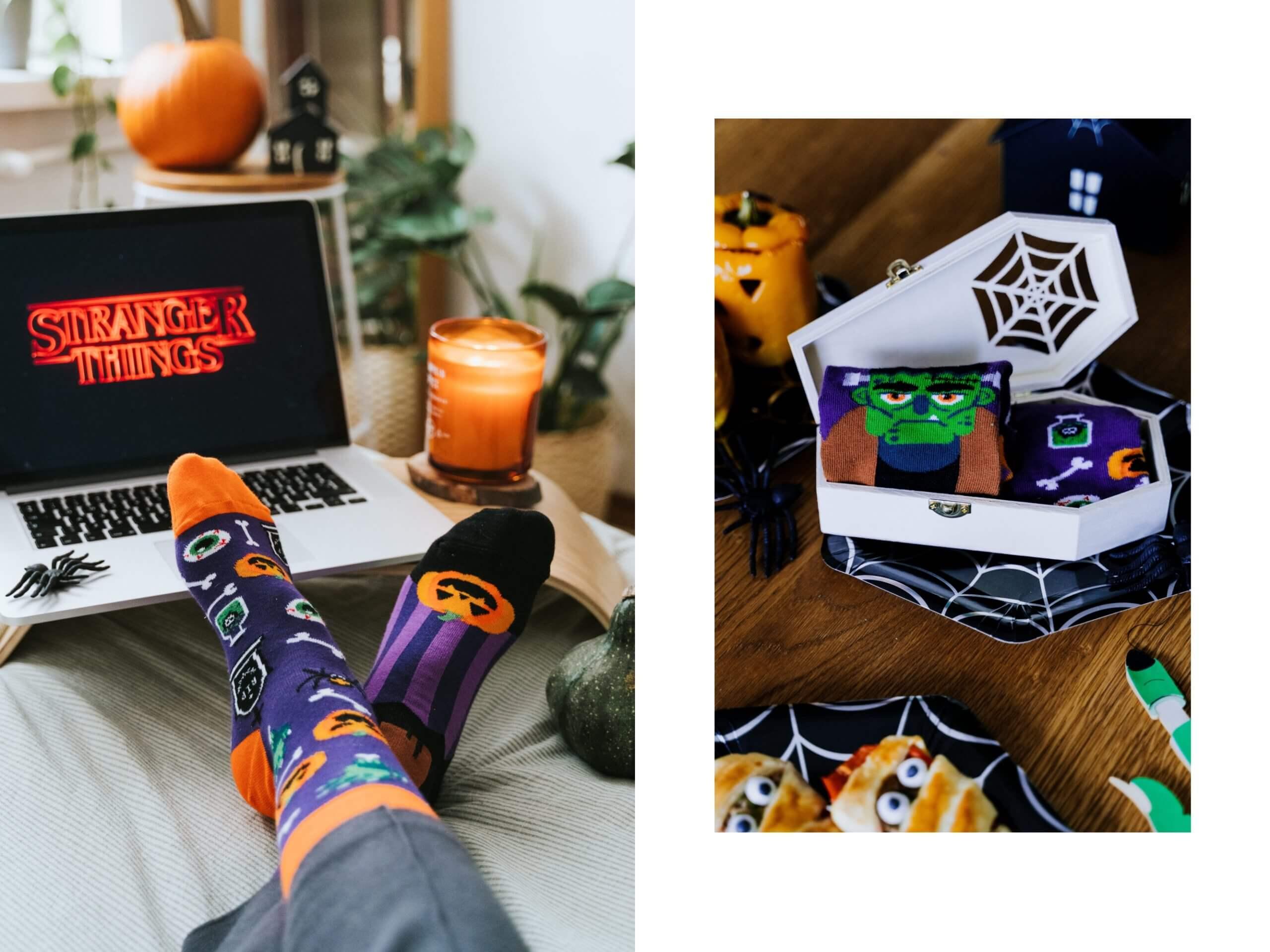 kolorowe skarpetki nie grzesząw Halloween