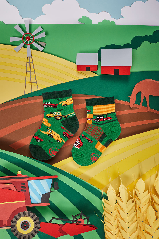 HAPPY HARVEST KIDS - Dziecięce skarpetki w traktory